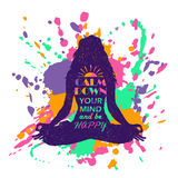 Fondo colorido del chapoteo de Lotus Pose Woman Silhouette Over de la yoga Imágenes de archivo libres de regalías