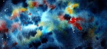 Fondo colorido del espacio de la acuarela stock de ilustración