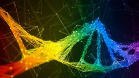 Fondo colorido del lazo del arco iris de Digitaces del plexo de la DNA del filamento iridiscente de la molécula almacen de video