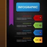 Fondo colorido del negro del cuero del libro de la cubierta de Infographic Foto de archivo libre de regalías
