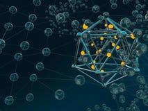 Fondo colorido del scifi de la molécula abstracta Vidrio, acero, luz ilustración 3D stock de ilustración