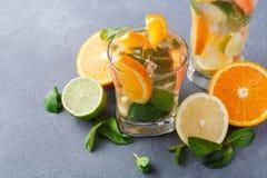 Fondo colorido del verano con las bebidas y las frutas de la fruta cítrica Imagenes de archivo