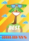 Fondo colorido del verano, tarjeta con la palma sonriente Imágenes de archivo libres de regalías