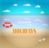 Fondo colorido del verano, tarjeta con la playa, mar Imagen de archivo libre de regalías