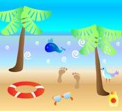 Fondo colorido del verano, tarjeta con la playa y Fotos de archivo