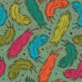 Fondo colorido inconsútil con penachos Modelo decorativo del garabato con las plumas Imagenes de archivo