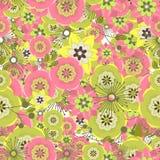 Fondo colorido inconsútil hecho de la Florida rosada y verde abstracta Imágenes de archivo libres de regalías