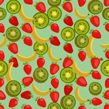 Fondo colorido inconsútil hecho de la fresa, del kiwi y del plátano stock de ilustración