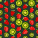 Fondo colorido inconsútil hecho de la fresa y del kiwi en plano Foto de archivo