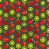Fondo colorido inconsútil hecho de la fresa y del kiwi en plano stock de ilustración
