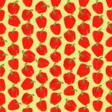 Fondo colorido inconsútil hecho de la pimienta roja en diseño plano Fotos de archivo libres de regalías