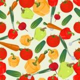 Fondo colorido inconsútil hecho de la pimienta, tomate, pepino, r Foto de archivo libre de regalías