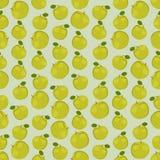 Fondo colorido inconsútil hecho de manzanas verdes en diseño plano Imagen de archivo libre de regalías