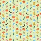 Fondo colorido inconsútil hecho del contenido del monedero de la mujer en f ilustración del vector