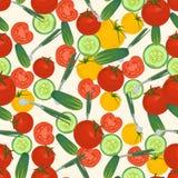 Fondo colorido inconsútil hecho del tomate, de la cebolla verde y del cuc Imagen de archivo libre de regalías