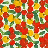 Fondo colorido inconsútil hecho del tomate rojo y amarillo y de c Imagen de archivo libre de regalías