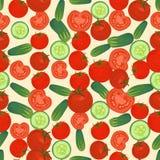 Fondo colorido inconsútil hecho del tomate y rebanadas y w rojos ilustración del vector