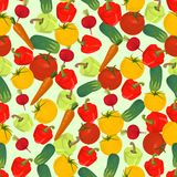 Fondo colorido inconsútil hecho del tomate, zanahoria, pepino, p Fotografía de archivo