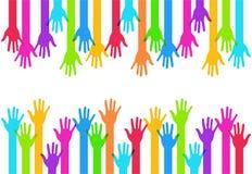Fondo colorido moderno de las manos del vector Imagen de archivo libre de regalías