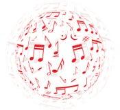 fondo colorido musical de las notas Imagen de archivo