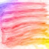 Fondo colorido y púrpura de la acuarela abstracta de la mano, tarjeta del ejemplo de la trama Imagen de archivo
