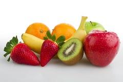 Fondo Colourful di bianco di frutta fresca immagine stock libera da diritti