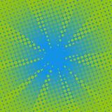 Fondo comico di verde blu dei retro raggi Fotografia Stock