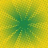Fondo comico di verde giallo dei retro raggi Fotografie Stock Libere da Diritti