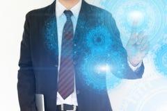Fondo commovente di tecnologia della mano dell'uomo d'affari immagine stock