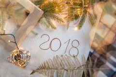 Fondo 2018, composición del Año Nuevo 2018 del Año Nuevo Vista superior, de la vida festiva del Año Nuevo 2018 aún Fotos de archivo libres de regalías