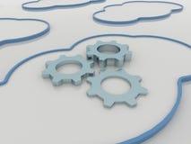 Fondo computacional del concepto de la nube con las ruedas dentadas stock de ilustración