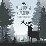 Fondo conífero de niebla del vector del bosque de la fauna con los árboles de pinos y las siluetas de los animales libre illustration