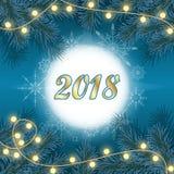 Fondo con 2018, árbol de los días de fiesta del Año Nuevo y de la Navidad de pino Fotografía de archivo
