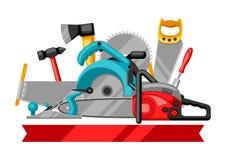 Fondo con attrezzature e gli strumenti per silvicoltura ed industria del legname royalty illustrazione gratis
