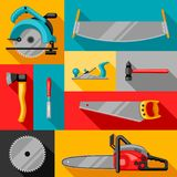 Fondo con attrezzature e gli strumenti per silvicoltura ed industria del legname illustrazione vettoriale