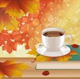 Fondo con café, el libro y las hojas de otoño calientes Fotos de archivo