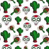 Fondo con calaveras, el cactus y maracas stock de ilustración