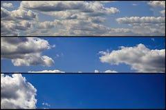 Fondo con cielo blu e le nuvole messi Fotografie Stock Libere da Diritti