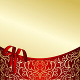 Fondo con clase del oro con una frontera roja. Foto de archivo
