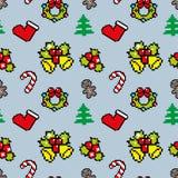 Fondo con color del azul del modelo del invierno del arte del pixel de los símbolos de la Navidad Foto de archivo libre de regalías