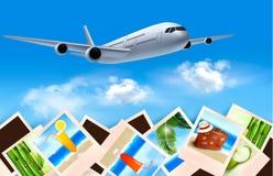 Fondo con el aeroplano y con las fotos Fotos de archivo libres de regalías