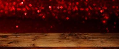 Fondo con el bokeh rojo para el día de tarjetas del día de San Valentín Imágenes de archivo libres de regalías