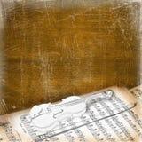 Fondo con el bosquejo de un violín viejo Stock de ilustración