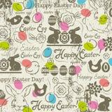 Fondo con el conejito, huevos de Pascua, flor, polluelos, gallina libre illustration