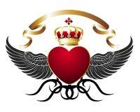 Fondo con el corazón, las alas y la corona real del oro Fotografía de archivo