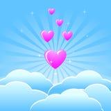 Fondo con el corazón rosado y las nubes azules Imagenes de archivo