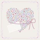 Fondo con el corazón y el marco Imagen de archivo