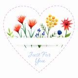 Fondo con el corazón y las flores Fotos de archivo libres de regalías