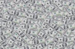 Fondo con el dinero cientos dólares Imagen de archivo