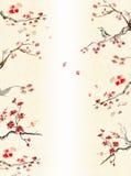 Fondo con el flor del ciruelo ilustración del vector